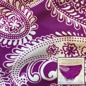 Athleta Paisley Purple & White Swim Bikini Bottoms